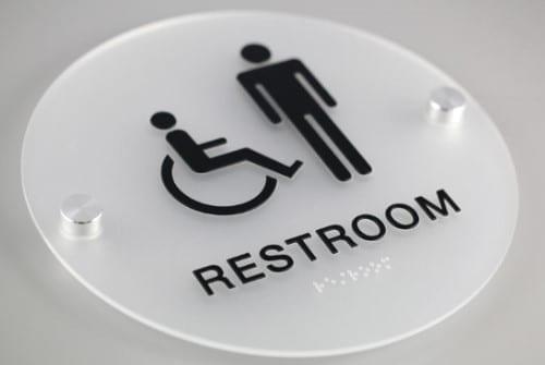 clear acrylic ADA Restroom Sign