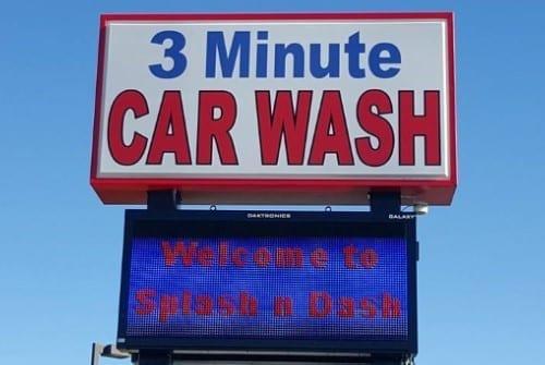 3 minute car wash sign
