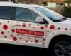 printworks car graphics red polka dots